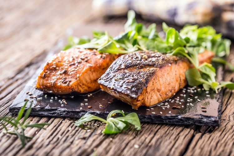 Morský losos so zeleninou