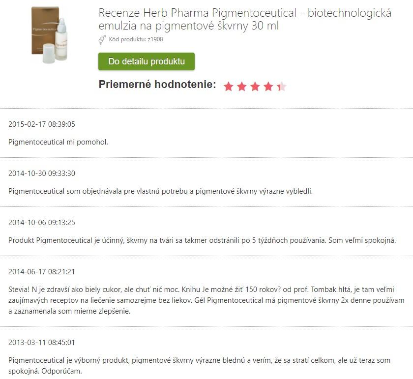 Recenzie a skúsenosti s Pigmentoceutical na pigmentové škvrny