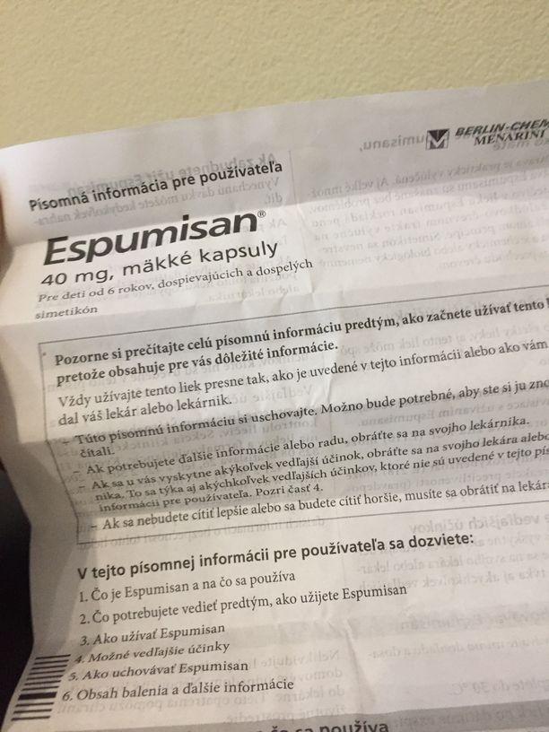 Príbalový leták Espumisan kapsúl