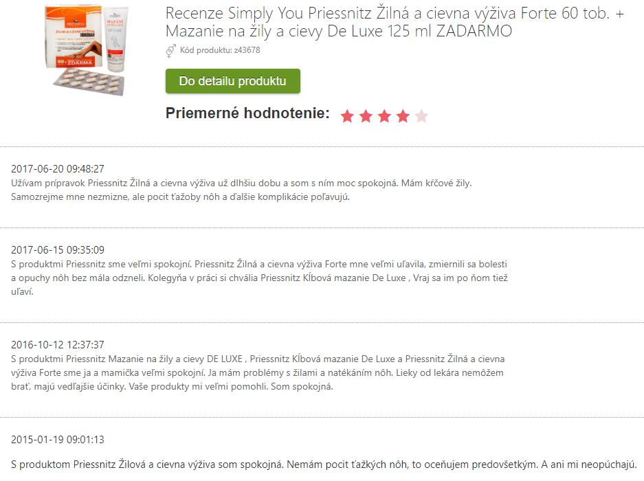 Recenzie a skúsenosti s Priessnitz Žilná a cievna výživa Forte 60 tob. + Mazanie na žily a cievy De Luxe