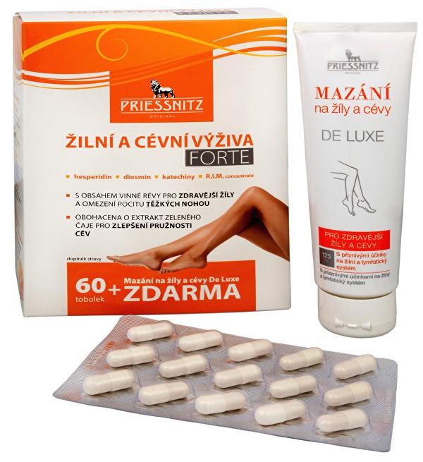 Priessnitz Žilná a cievna výživa Forte 60 tob. + Mazanie na žily a cievy De Luxe 125 ml