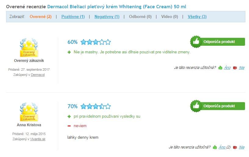 Recenzie a skúsenosti s Dermacol bieliaci krém Whitening
