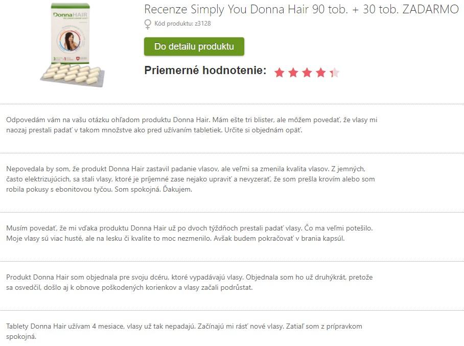 Recenzie a skúsenosti s užívaním Donna Hair