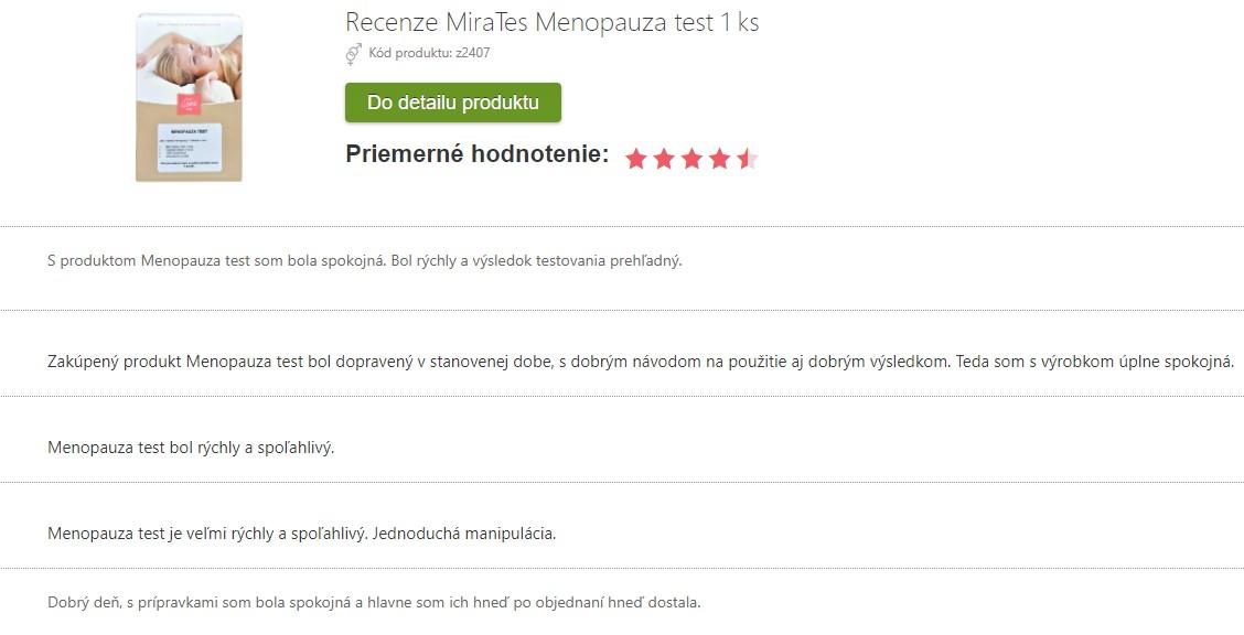 Recenzie na domáci test na menopauzu