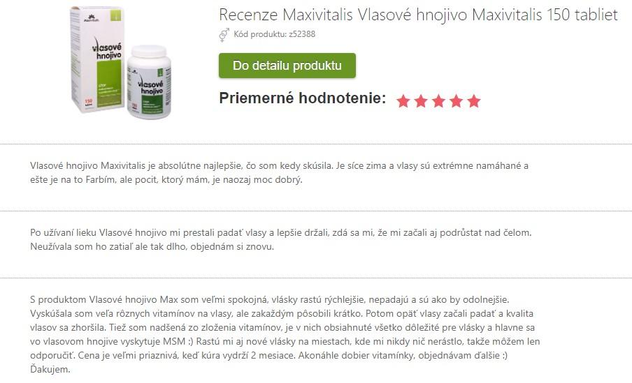 Recenzie a skúsenosti Vlasové hnojivo Maxivitalis